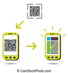 cellphone, code, reussite, balayage, projection, qr