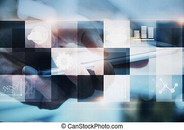 cellphone, con, digitale, interfaccia