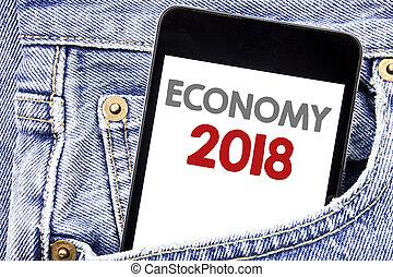 cellphone, concetto, parola, pocket., affari, testo, esposizione, uomini, scrittura, telefono, scritto, smartphone, economia, piano, 2018., futuro, finanza