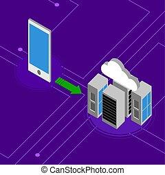 cellphone, connecté, réseau, nuage, calculer