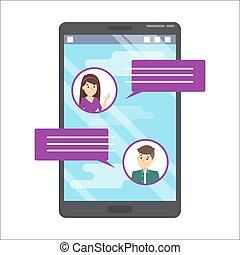 cellphone, conversation., kommunikation, in, der, internet., nachricht