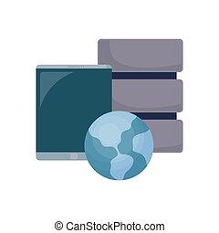 cellphone database world on white background