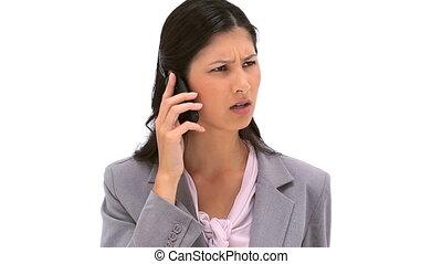 cellphone, elle, conversation, brunette, femme, sérieux