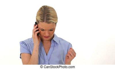 cellphone, elle, conversation, femme, blond