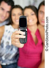 cellphone, ellenző, barátok, kiállítás, tiszta