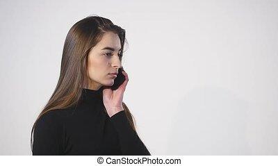 cellphone, femme, elle, haut, fond, fin, blanc