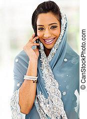 cellphone, femme, jeune, traditionnel, conversation, indien,...