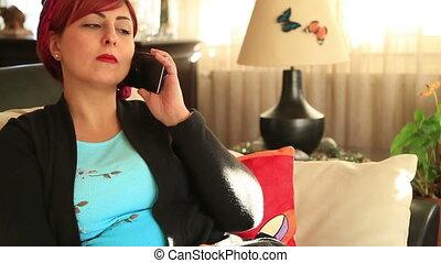 cellphone, femme, milieu, conversation, séduisant, vieilli