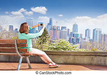 cellphone, femme, seattle, prendre, photo
