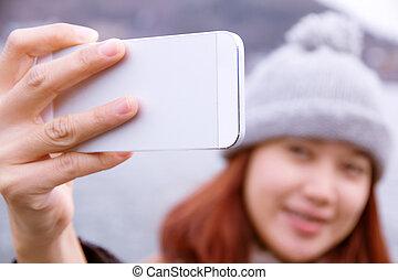 cellphone, femmes, regarder, elle