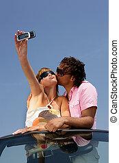 cellphone, foto, levando, funky, conversível, par