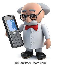 cellphone, fou, caractère, scientifique, fou, tenue, 3d