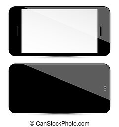 Cellphone Front and Back. Black Vector Mobile Phones Set Isolated on White Background. Cell Phone Illustration with Blank Screen.