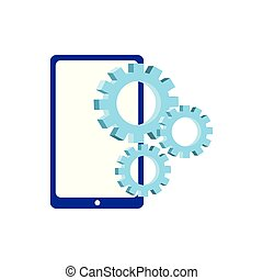 cellphone gears on white background