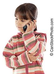 cellphone, girl, désinvolte, conversation