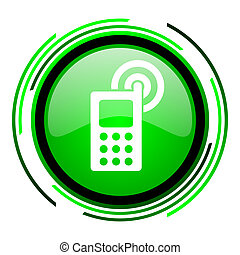 cellphone green circle glossy icon