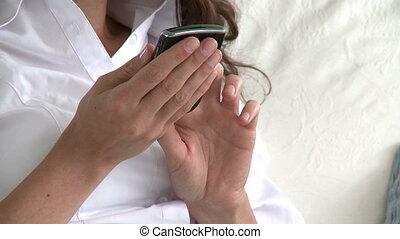 cellphone, gros plan, femme, utilisation
