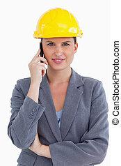 cellphone, haar, vrouwlijk, het glimlachen, architect