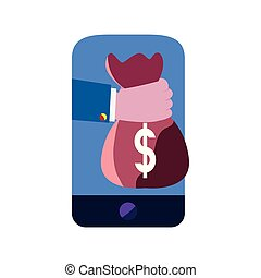 cellphone hand money bag
