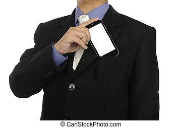 cellphone, handlowy, dzierżawa, człowiek