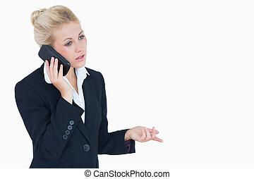 cellphone, handlowy, używając, kobieta, młody
