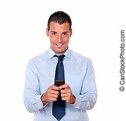 cellphone, hans, texting, unge, pæn, mand