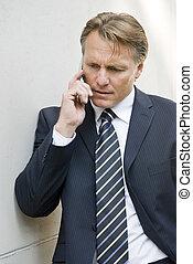 cellphone, homme affaires, utilisation