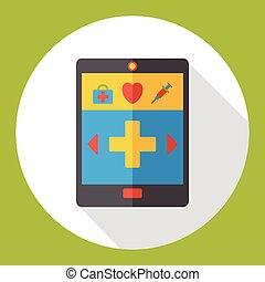 cellphone, icône, appeler, urgence, plat