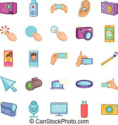 Cellphone icons set, cartoon style - Cellphone icons set....