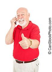 cellphone, idősebb ember, -, thumbsup