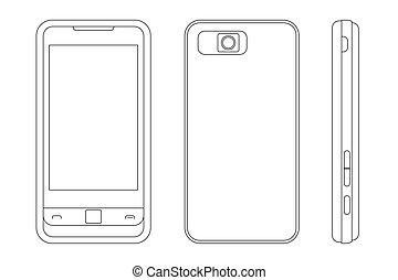Cellphone - vector illustration of a cellphone (black...