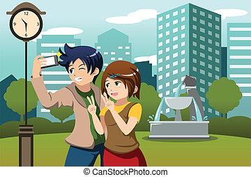 cellphone, image, prendre, vacances, leur, eux-mêmes, couple