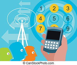 Cellphone in hand with tower and numbers