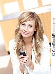 cellphone, jej, radiant, przesyłka, tekst, kobieta interesu, wiadomość