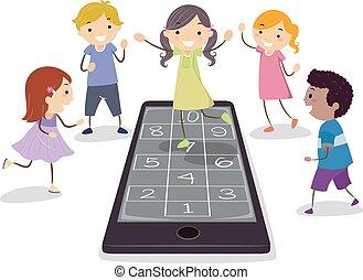 cellphone, jeu, gosses, stickman, marelle
