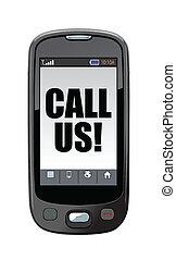 cellphone kalla, oss, illustration