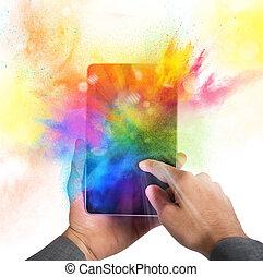 cellphone, kleur, barsten