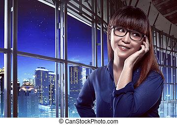 cellphone, kobieta handlowa, mówiąc, przez, asian