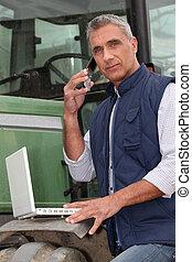 cellphone, laptop, agricultor