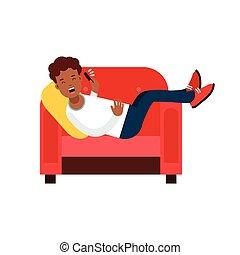 cellphone, leunstoel, jonge, illustratie, klesten, vector, black , het liggen, rood, man