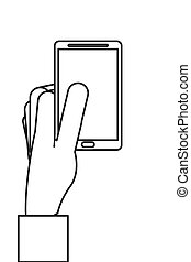 cellphone, lijn, moderne, ontwerp, pictogram
