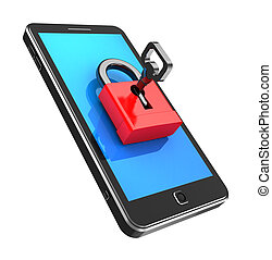 Safely concept: cellphone locked with key