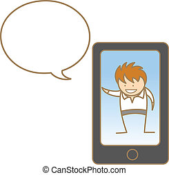 cellphone, man, karakter, spotprent, klesten