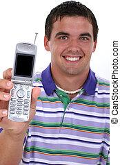 cellphone, mann, telefon