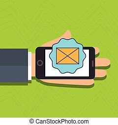 cellphone, messaggio, email, mano
