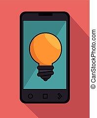 cellphone, nero, bulbo, idea, icona, grafico