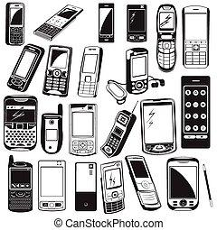 cellphone, nero, icons.