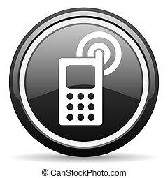 cellphone, nero, lucido, icona, bianco, fondo