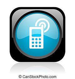 cellphone, nero, quadrato blu, web, lucido, icona