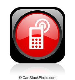 cellphone, nero rosso, quadrato, web, lucido, icona